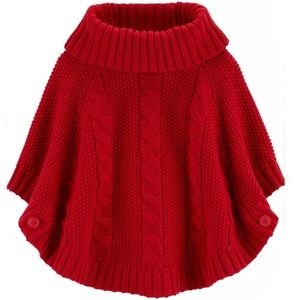 Red Sparkly Cable Knit Poncho 2T